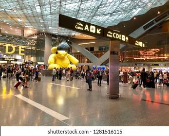 Hamad International Airport, Doha, Qatar - 8th April 2018: Terminal building of modern new HIA, Doha, Qatar