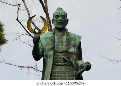 Hamamatsu, Lapan - February 1st, 2017: bronze statue of warlord and shogun Tokugawa Ieyasu on the entrance to Hamamatsu Castle