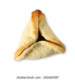 Hamantaschen cookies or hamans ears for Purim celebration (jewish holiday). isolated on white