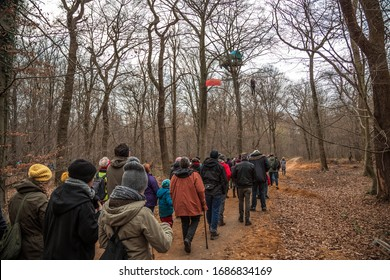 Hambach Forest, NRW/Germany, 2016, 33rd tour through the remaining forest near the RWE opencast mine. People are visiting the left-wing autonomous tree sitters.