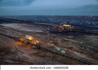 Hambach Forest, NRW/Germany, Dec 11, 2016, RWE Tagebau opencast mine pit for brown coal.