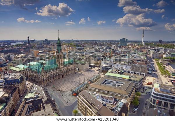 Hamburg. Aerial image of Hamburg, Germany during spring day.