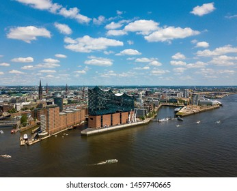 Hamburg - Aerial view on the storehouse district Speicherstadt with Elbe Philharmonic Hall (Elbphilharmonie) and city centre as seen from South West