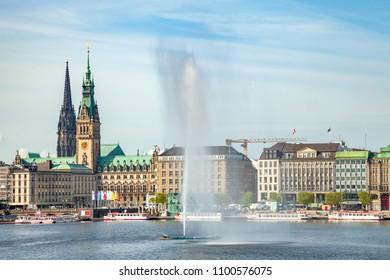 Hamburg, Binnenalster, Town Hall, Germany