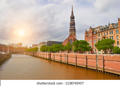 Hamburg channel and beautoful old buildings view