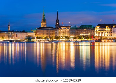 Hamburg city centre view at sunset in Germany