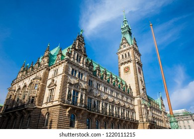 Hamburg City Hall buildiing located in the Altstadt quarter in the city center at the Rathausmarkt square in a beautiful early spring day