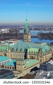 Hamburg City Hall and  cityscape of Hamburg, Germany. Aerial view.