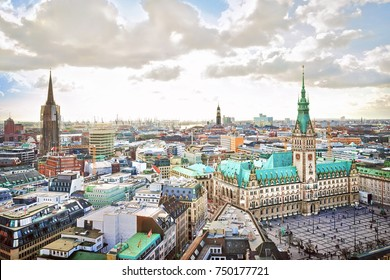 Hamburg city hall and downtown