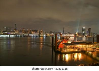 Hamburg City skyline above the Elbe river