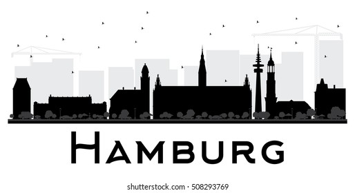 Hamburg City skyline black and white silhouette. Simple flat concept for tourism presentation, banner, placard or web site. Business travel concept. Cityscape with landmarks