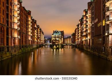 Hamburg city of warehouses palace at night
