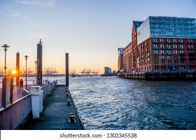 hamburg in the evening on elbe river side with apartment houses