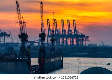 Hamburg, evening on the river