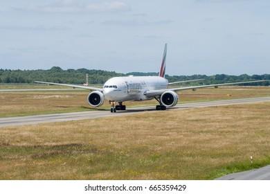 Hamburg Fuhlsbuettel HAM Germany, Helmut-Schmidt-Airport Emirates Boing 777 landing