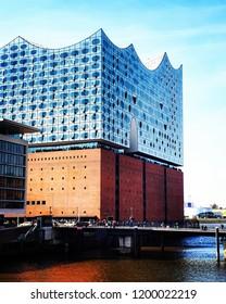 Hamburg, Germany 07.04.18. View of Elbe Philharmonic (Elbphilharmonie in Deutsch).