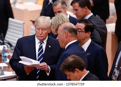 HAMBURG, GERMANY 07/08/2017 The President of the United States, Donald Trump, during the G20 Summit in Hamburg, Germany