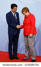 HAMBURG, GERMANY 07/08/2017 THE PRIME MINISTER OF JAPAN, SHINZO ABE AND THE CHANCELLOR OF GERMANY, ANGELA MERKEL DURING THE G20 SUMMIT IN HAMBURG
