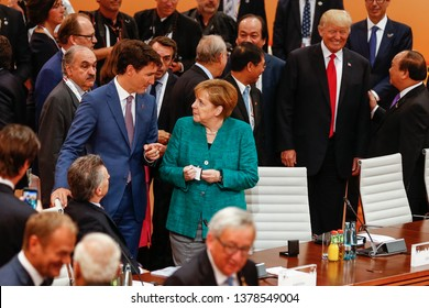 HAMBURG, GERMANY 07/08/2017 THE PRIME MINISTER OF CANADA, JUSTIN TRUDEAU, AND THE CHANCELLOR OF GERMANY, ANGELA MERKEL DURING  THE G20 SUMMIT IN HAMBURG