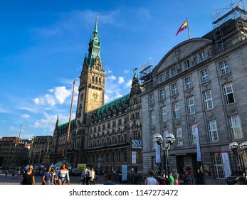 Hamburg, Germany - 1. August 2018. View of the townhall with CSD flag in Hamburg downtown. CSD Rainbow flag on the Hamburg townhall.