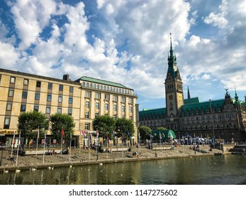 Hamburg, Germany - 1. August 2018. View of Hamburg townhall and small Alster lake. Hamburg downtown, townhall and Alster.