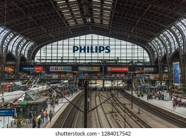 Hamburg, Germany - 10th July 2016 - busiest train station in Germany, the Hamburg Hauptbahnhof is a recognizable landmark in Hamburg. Here in particular its iron structure