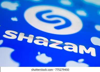 HAMBURG, GERMANY - 12. December 2017: Shazam and Apple Logo seen on a screen of an iPhone