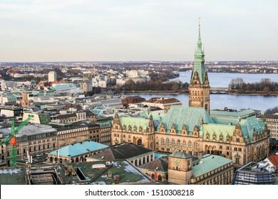 Hamburg, Germany, 12/29/2012. View of Hamburg from the bell tower of St. Nicholas Church