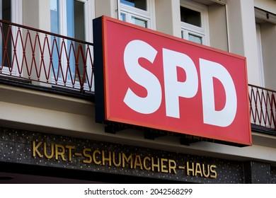 hamburg, hamburg, germany - 14 09 2021: sign of the german spd party on the Kurt-Schumacher-Haus building
