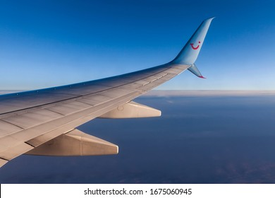 HAMBURG, GERMANY - 15. JANUARY 2020: Beautiful view out of the window of a boeing 737 by TUI fly airline. TUI Fly stops flights due to Corona virus / Covid-19