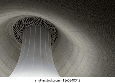 Hamburg, Germany - 17 August, 2018: Architectural details - ceiling of main (big) concert hall of Elbphilharmonie
