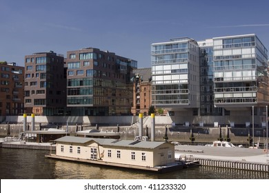 HAMBURG, GERMANY - 19 MARCH 2016: Modern architecture at Traditionsschiffhafen at Sandtorhafen located on the Elbe river islands