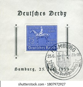 Hamburg, GERMANY — 25 June 1939: Historical stamp:  70th anniversary of the German Derby, 1869-1939,  Germany, the Third Reich,  first day special cancellation