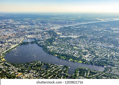 Hamburg, Germany and Alster from above
