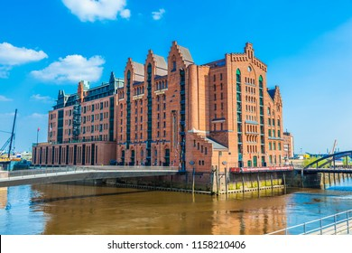 HAMBURG, GERMANY - APR 20, 2011: famous old Speicherstadt in Hamburg with the international maritime museum, an old brick building.
