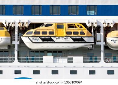 HAMBURG, GERMANY - April 10, 2019: Tender boat of cruise ship AIDAaura. AIDAaura is the third ship operated by AIDA Cruises.