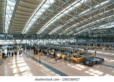 HAMBURG, GERMANY - APRIL 10, 2019: Terminal 2 of Hamburg Airport Helmut Schmidt. Hamburg Airport is the fifth-busiest of Germany's commercial airports measured by the number of passengers.