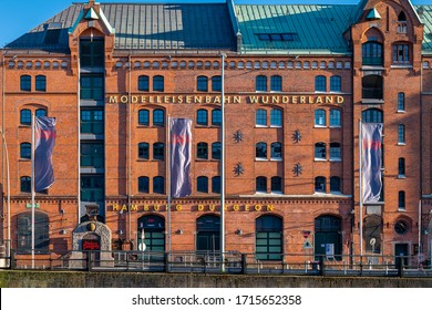Hamburg, Germany - April 20, 2020: The entrance of the Miniatur Wunderland (and Hamburg Dungeon) in the Warehouse District (German: Speicherstadt).  It is a model railway and airport attraction.