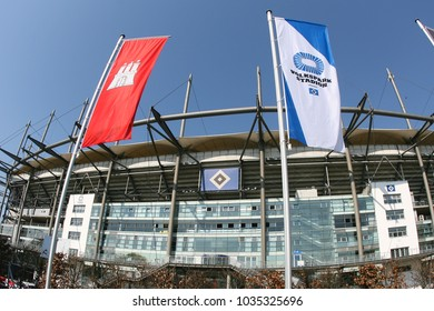 Hamburg, Germany April 21 2017, soccer stadium VOLKSPARKSTADION in Hamburg. Home of soccer club Hamburger Sport Verein, HSV