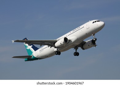 HAMBURG, GERMANY - APRIL 3, 2013: newly built Airbus A320-200 for Singaporean SilkAir with temporary registration D-AXAR at Hamburg Finkenwerder Airport (Airbus plant).
