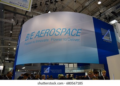 HAMBURG, GERMANY - APRIL 4 2017: Aircraft Interiors Expo. Latest innovations and products for the cabin interiors, inflight entertainment and passenger comfort industries