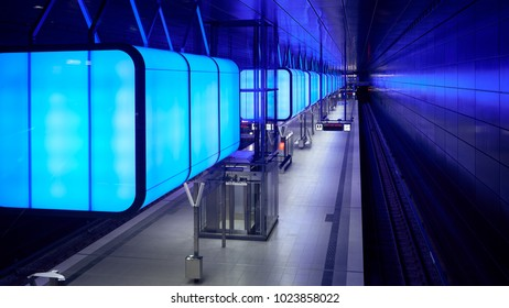 Hamburg, Germany - April 8, 2017: Subway station with blue lights at University on the Speicherstadt area in Hamburg