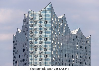 HAMBURG, GERMANY - April 9, 2019: The Elbphilharmonie (Elbe Philharmonic Hall) in the HafenCity quarter of Hamburg. It is one of the largest and most acoustically advanced concert halls in the world.