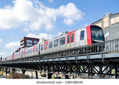HAMBURG, GERMANY - APRIL 9, 2019: Hamburg U-Bahn DT5 Type near Baumwall station. Although technically an underground, most of the system's track length is above ground.