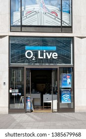 HAMBURG, GERMANY - APRIL 9, 2019: O2 store. O2 Store is a chain of retail stores operated by Telefonica Europe, specializing in mobile phones.