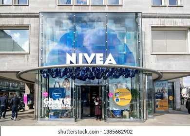 HAMBURG, GERMANY - APRIL 9, 2019: Nivea store. Nivea is a German personal care brand that specializes in body-care. It is owned by the Hamburg-based company Beiersdorf Global AG.