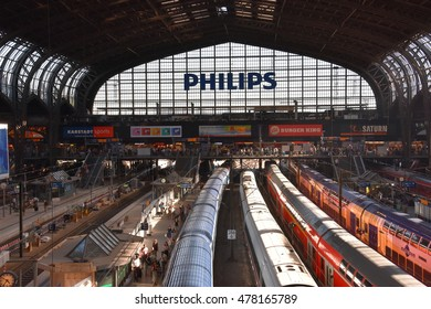 HAMBURG, GERMANY - AUG 25: Hauptbahnhof in Hamburg, Germany, as seen on Aug 25, 2016. It is the main railway station in the city, the busiest in the country and the second busiest in Europe.