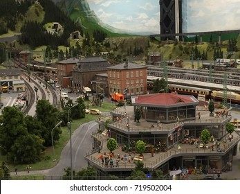 HAMBURG, GERMANY - AUG 27: Miniatur Wunderland in Hamburg, Germany, as seen on Aug 27, 2016. It is a model railway attraction and the largest of its kind in the world.