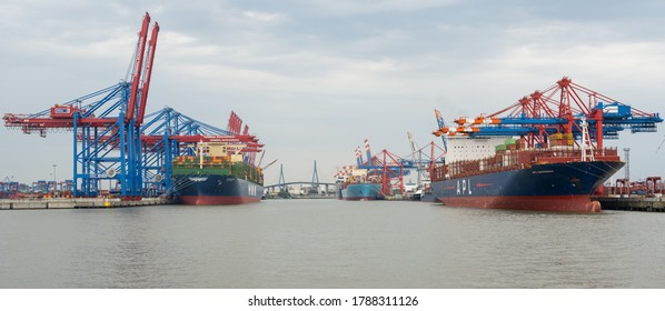 Hamburg, Germany - August 01, 2020: Container Terminal Eurogate Burchardkai in Hamburg, loading and unloading by the shipping company Container Schiffe APL, HMM and the Köhlbrand Bridge