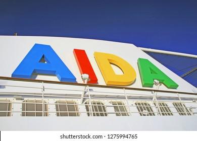 HAMBURG, GERMANY - August 14, 2013: AIDA sol on cruise terminal of Hamburg on a sunny day
